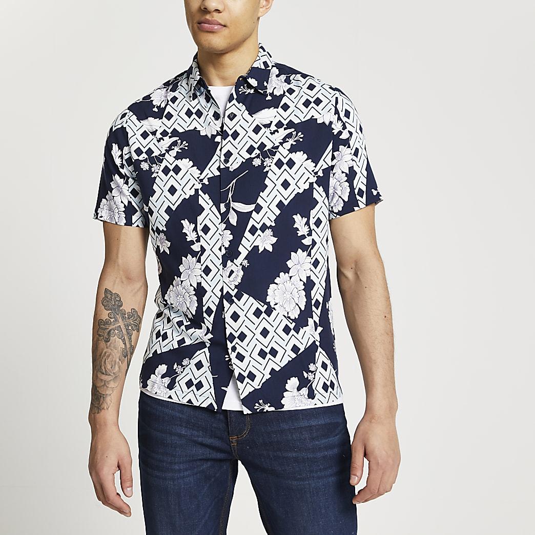 Navy geometric floral print revere shirt