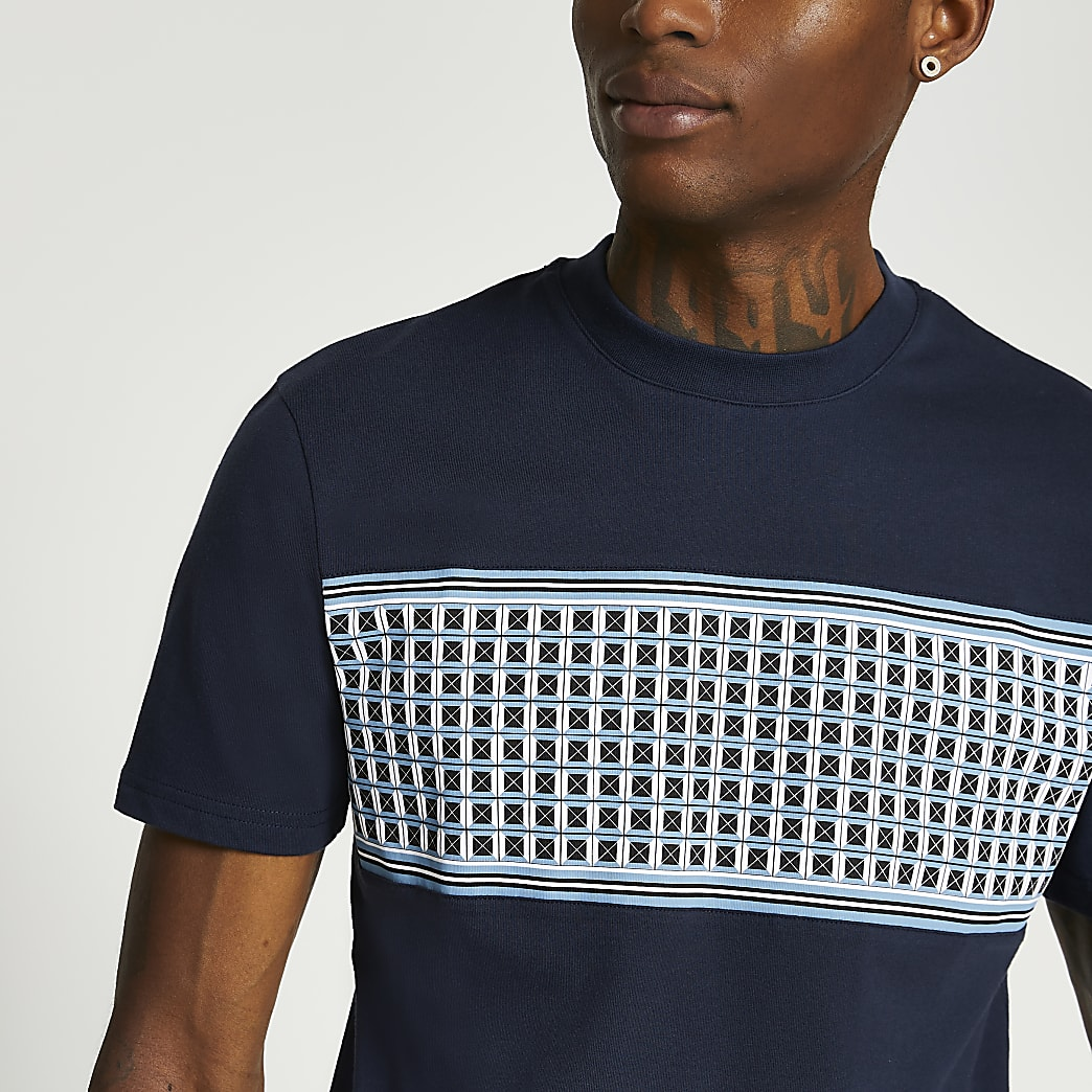 Navy geometric panel slim fit t-shirt