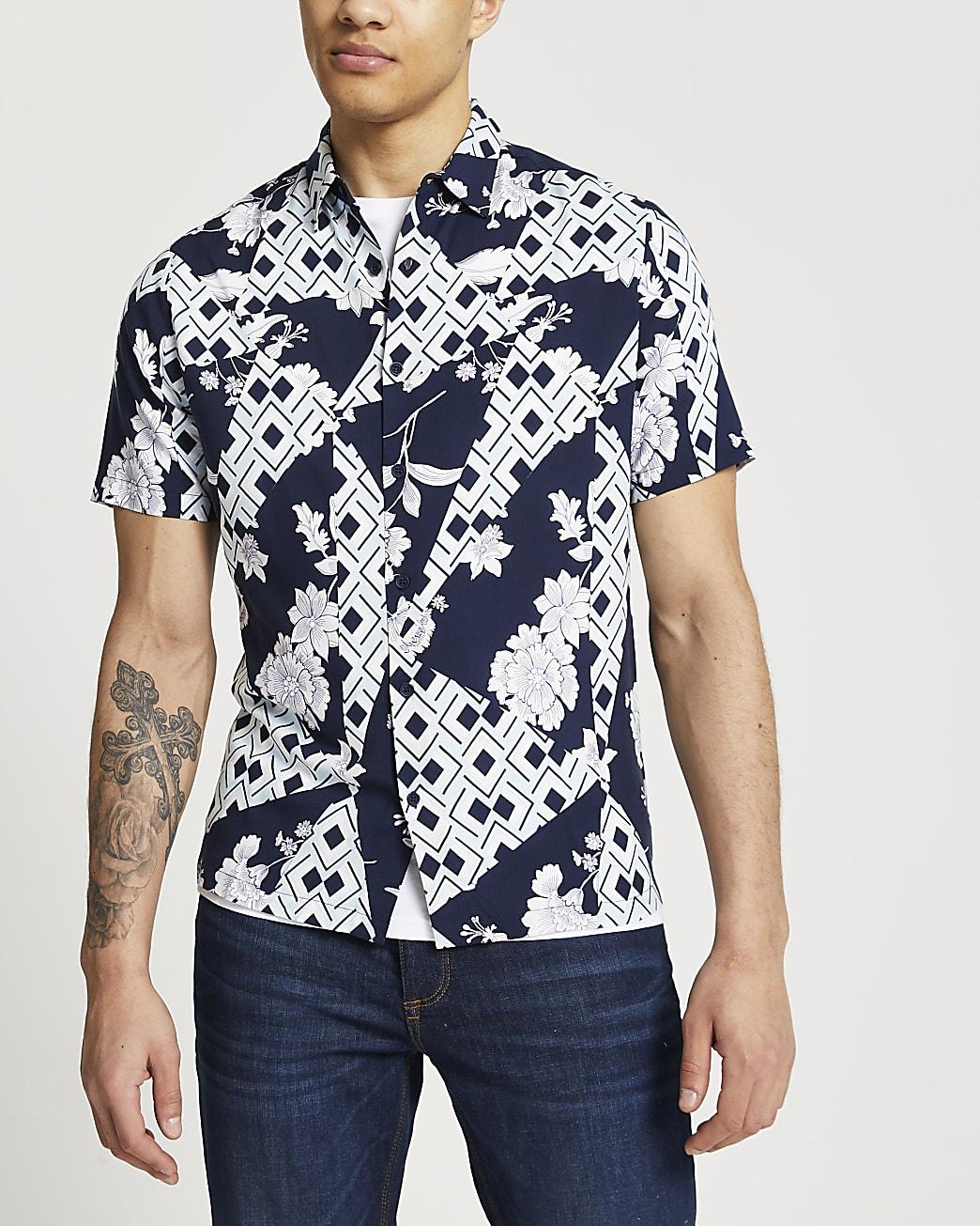 Navy geometric short sleeve revere shirt