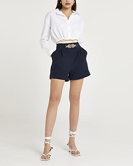 Navy gold knot trim shorts