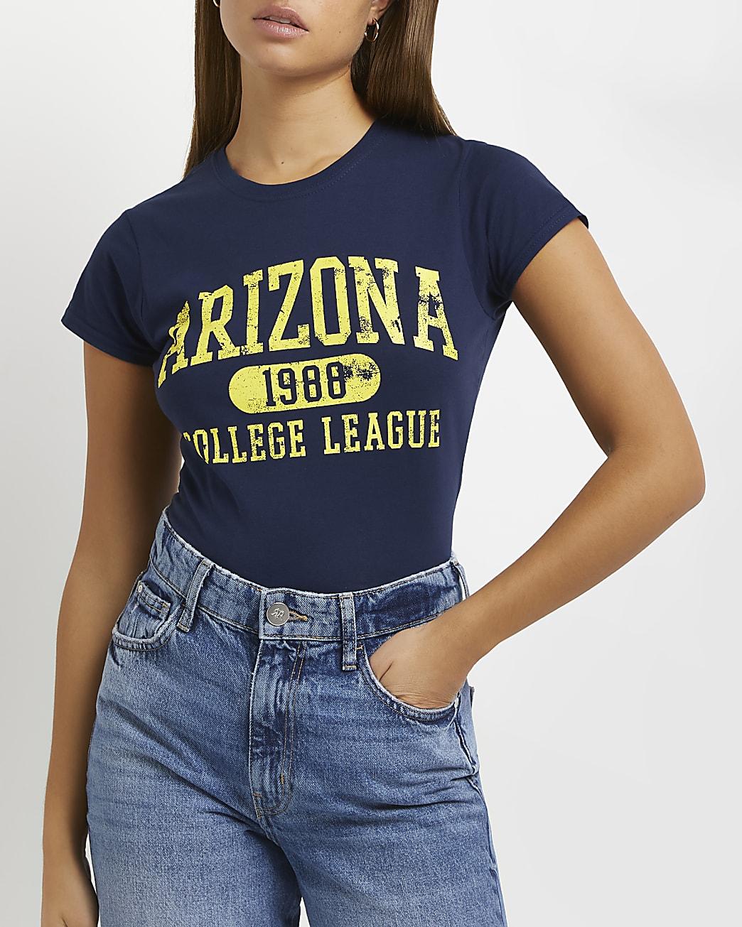Navy graphic print t-shirt