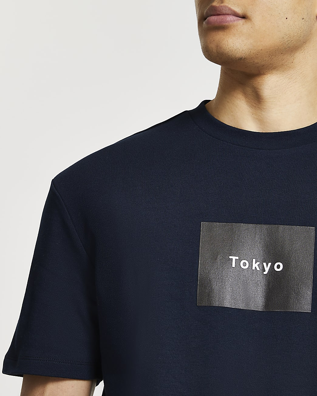 Navy graphic slim fit t-shirt