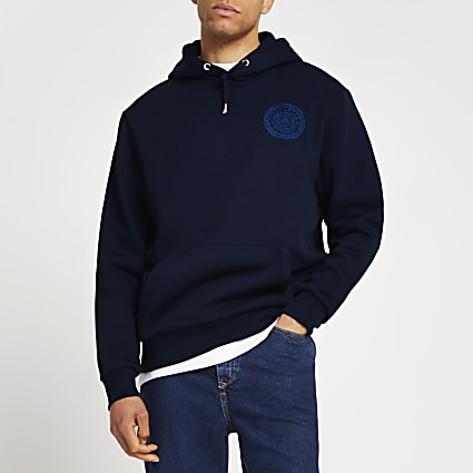 Navy Greek graphic hoodie