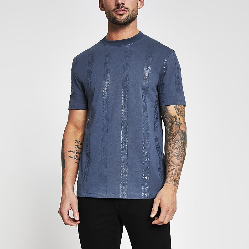 Navy Greek river stripe slim fit t-shirt