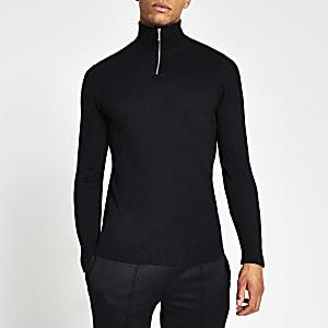 Marineblauwe gebreide slim-fit trui met halve ritssluiting