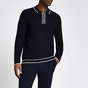Navy half zip slim fit knitted polo shirt
