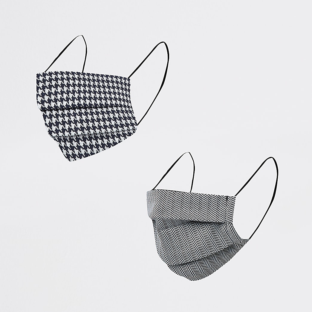 Navy herringbone & dogtooth masks 2 pack