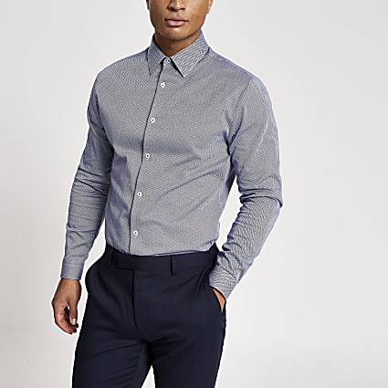 Navy herringbone long sleeve slim fit shirt