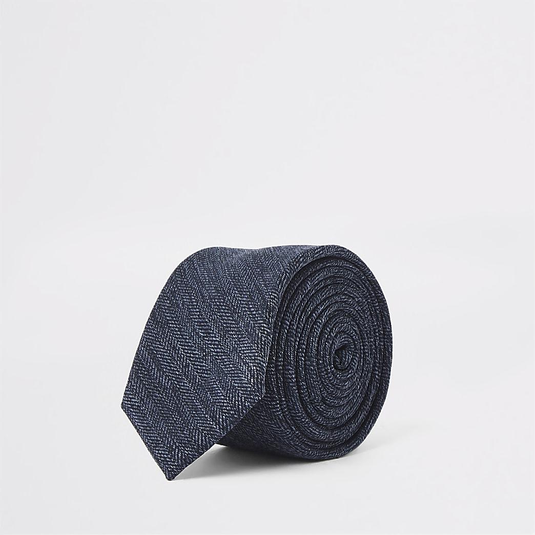 Navy herringbone print tie