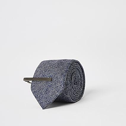 Navy Herringbone Tie with Clip