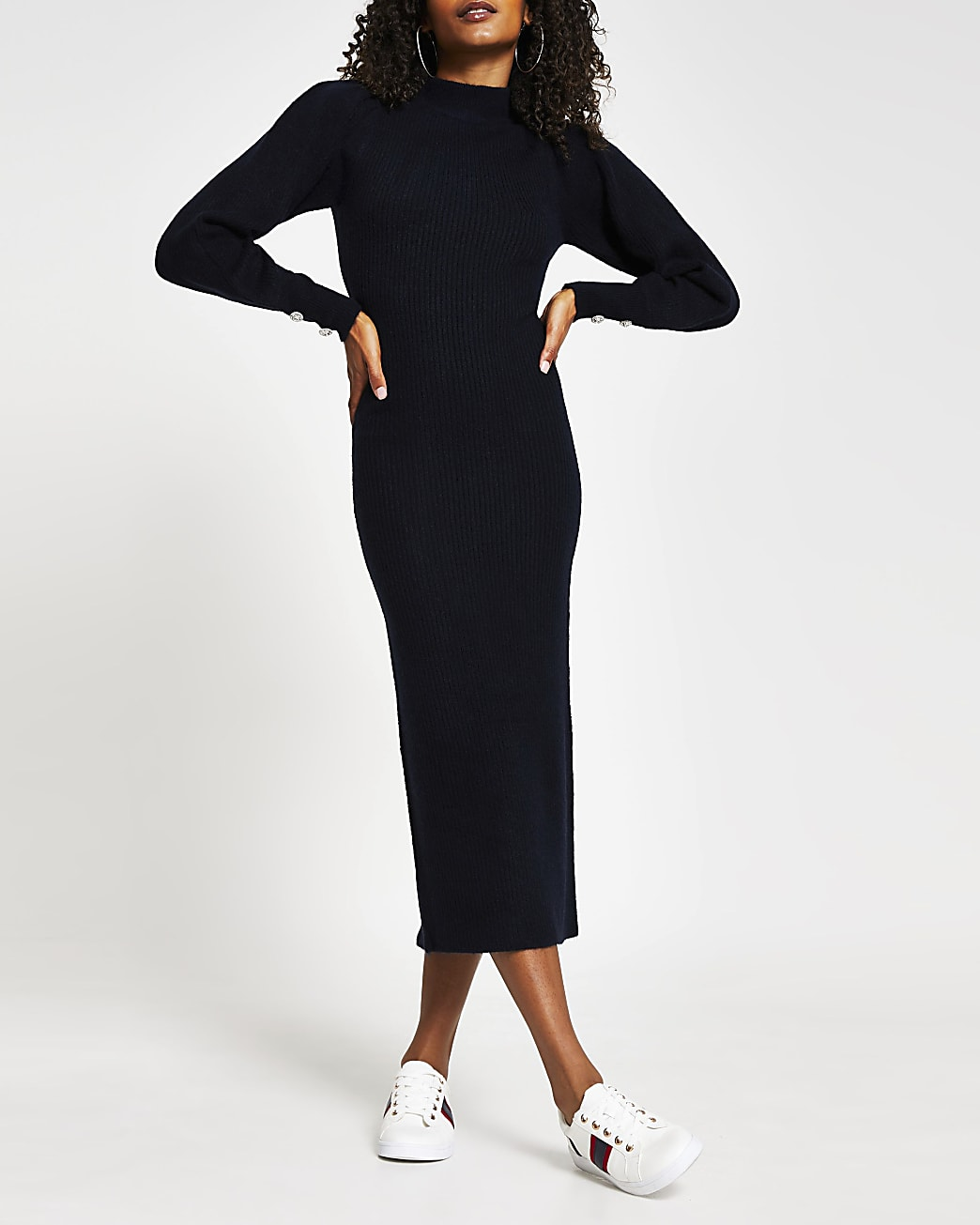 Navy high neck long sleeve midi bodycon dress