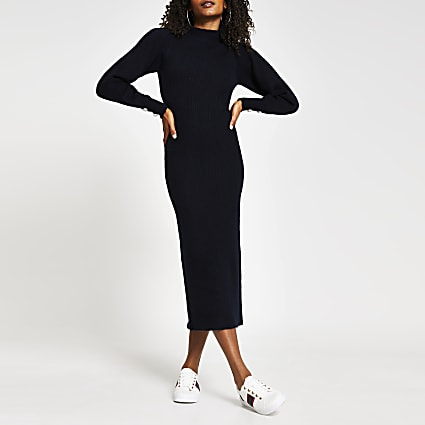 Navy high neck long sleeve midi bodycon dress