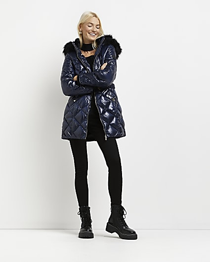 Navy high shine faux fur trim quilted coat