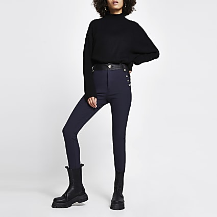 Navy high waist button trouser