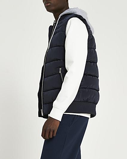 Navy hooded puffer gilet