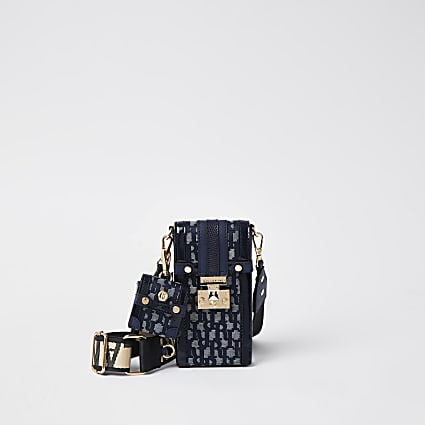 Navy jacquard phone and airpod bag