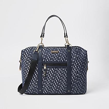 Navy jacquard RI monogram holdall handbag