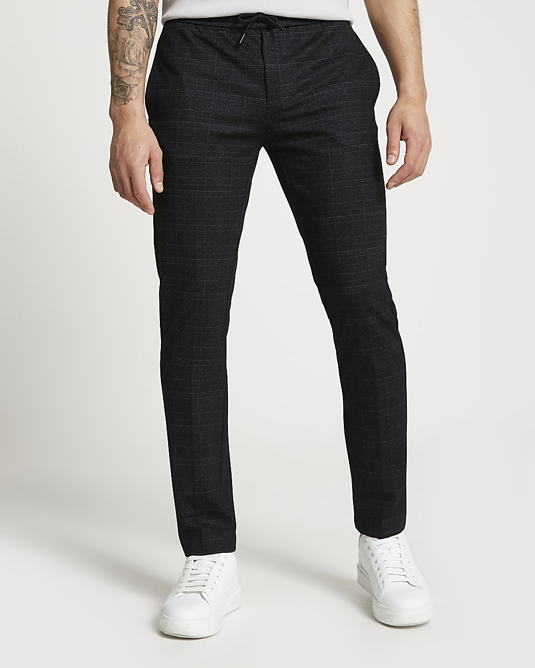 Navy jersey speckled check smart joggers