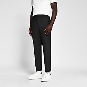 Marineblaue Jersey-Hose mit schmal zulaufendem Hosenbein