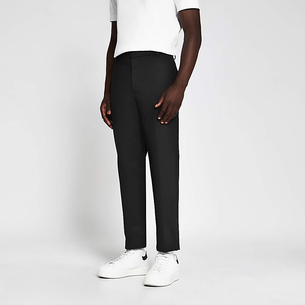 Navy jersey tapered fit trousers