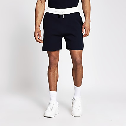 Navy knit elasticated contrast waist shorts