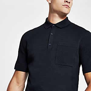 Navy knitted polo shirt