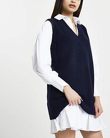 Navy knitted shirt dress