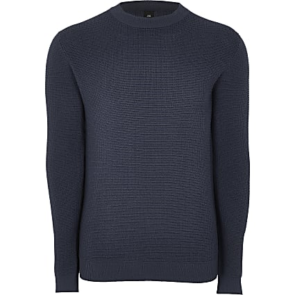 Navy knitted slim fit long sleeve jumper