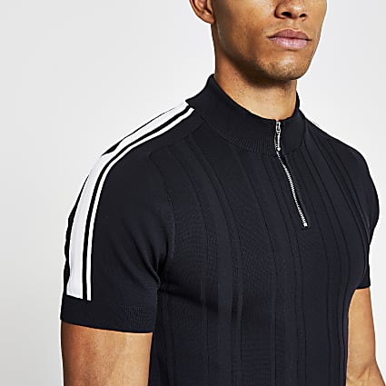 Navy knitted zip neck muscle fit polo shirt