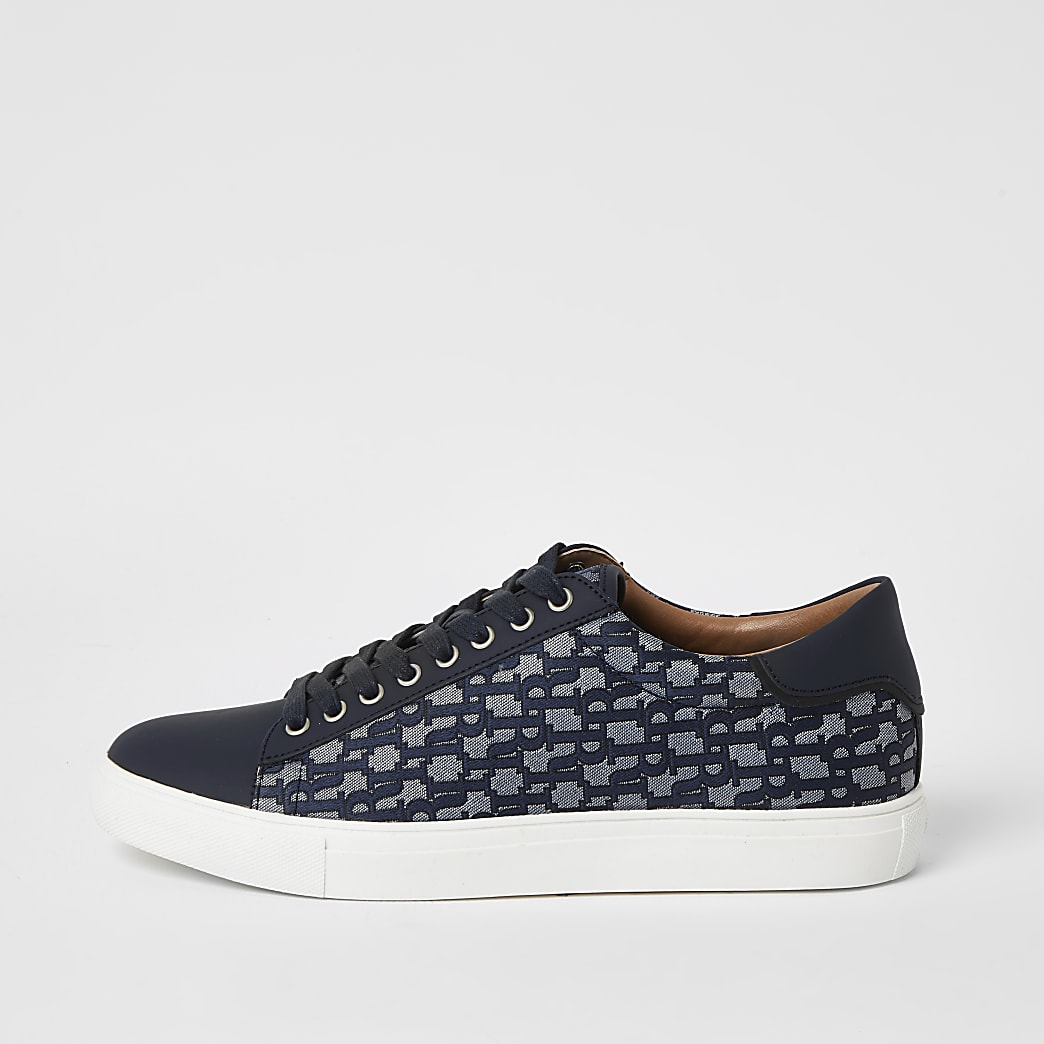 Navy lace-up RI jacquard cupsole trainers