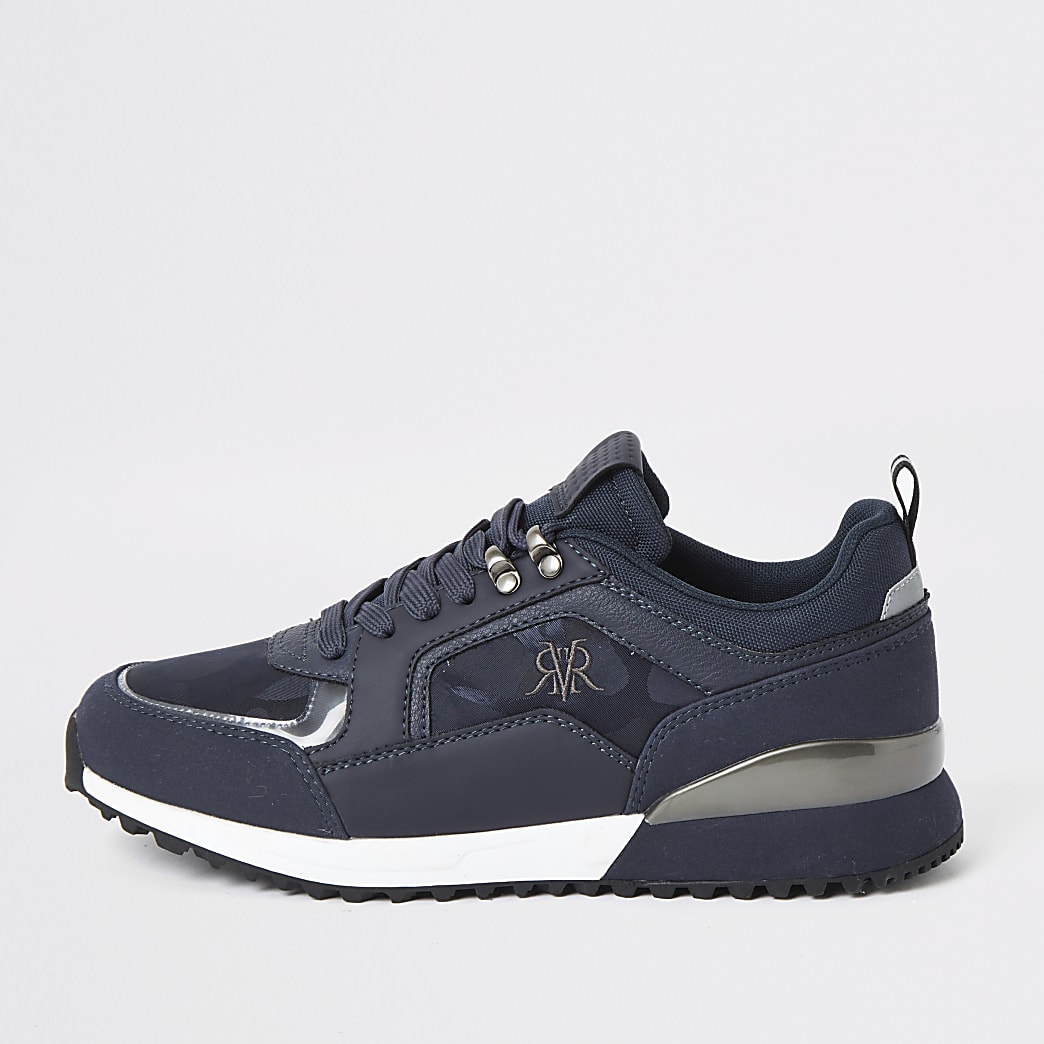 Navy lace-up runner trainers