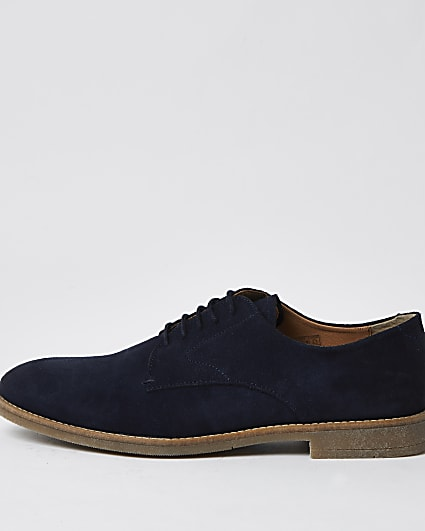 Navy lace up suede derby shoes