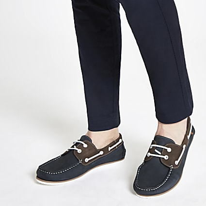 Navy leather boat shoes