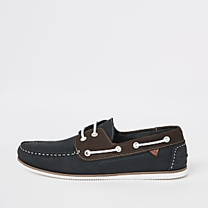 Navy leather mixed boat shoes