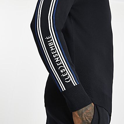 Navy 'Les Ensemble' muscle fit jumper