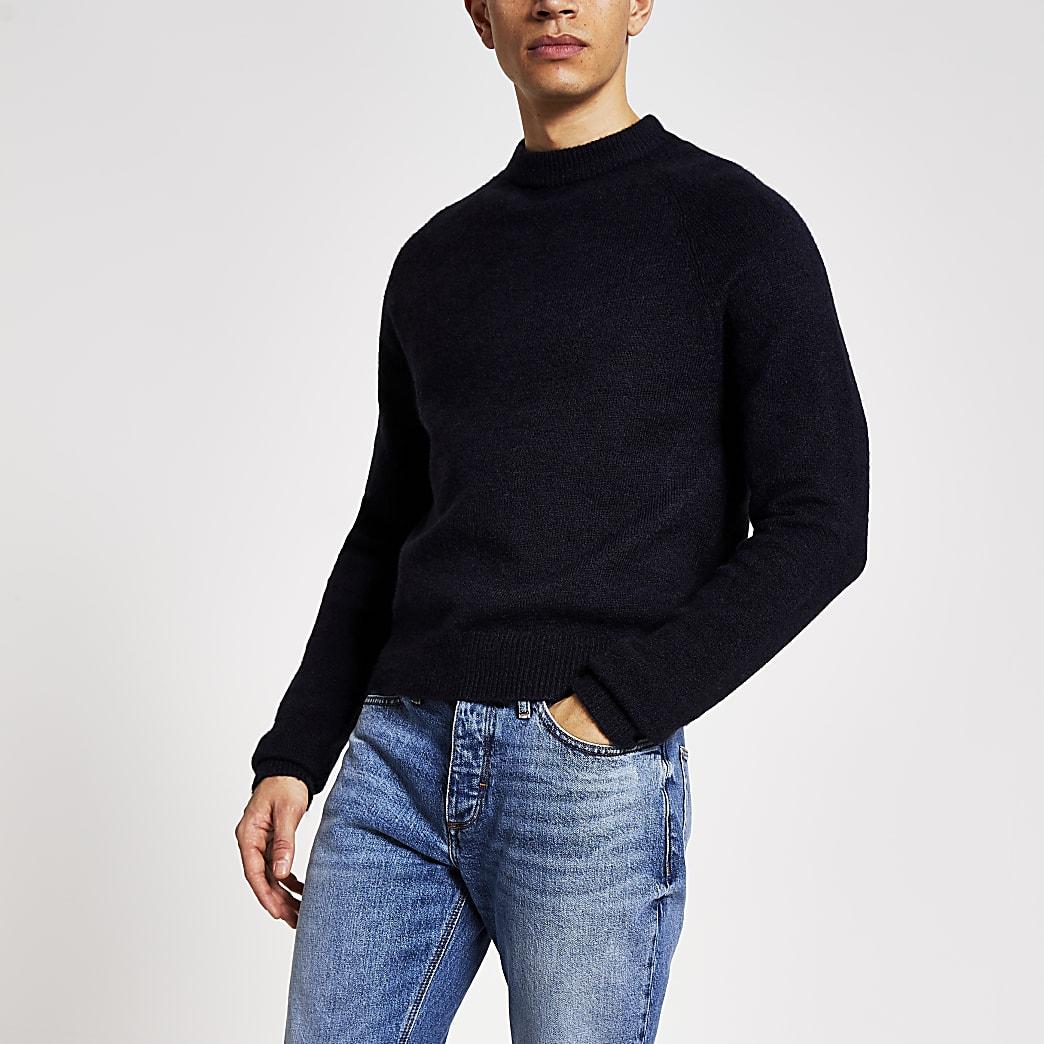Marineblauwe gebreide boxy-fit trui met lange mouwen
