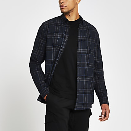 Navy long sleeve check print shirt