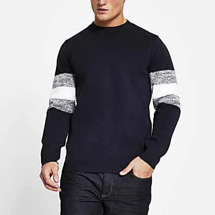 Navy long sleeve colour block jumper