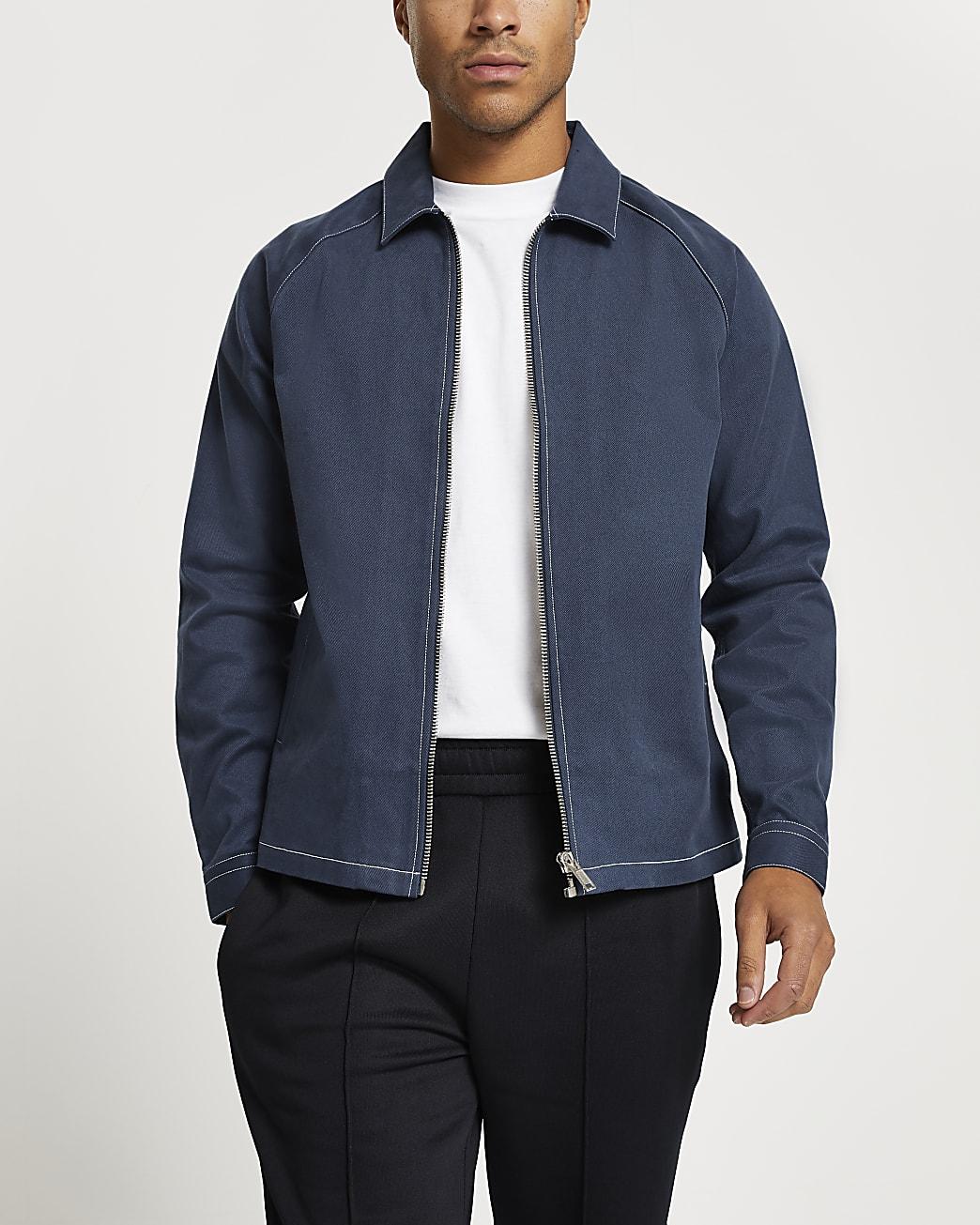 Navy long sleeve contrast stitch shacket