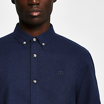 Navy long sleeve flannel slim fit shirt