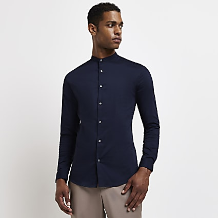 Navy long sleeve muscle fit grandad shirt