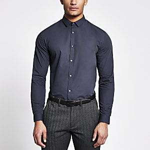 Navy long sleeve regular fit shirt