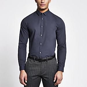 Marineblauw regular-fit overhemd met lange mouwen