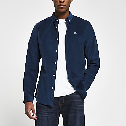 Navy long sleeve slim fit cord shirt