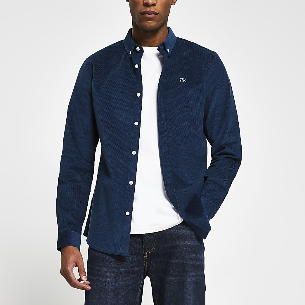 Navy long sleeve slim fit cord shirt