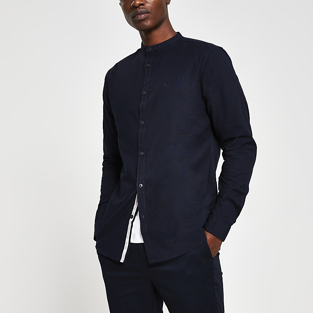 Navy long sleeve slim fit shirt