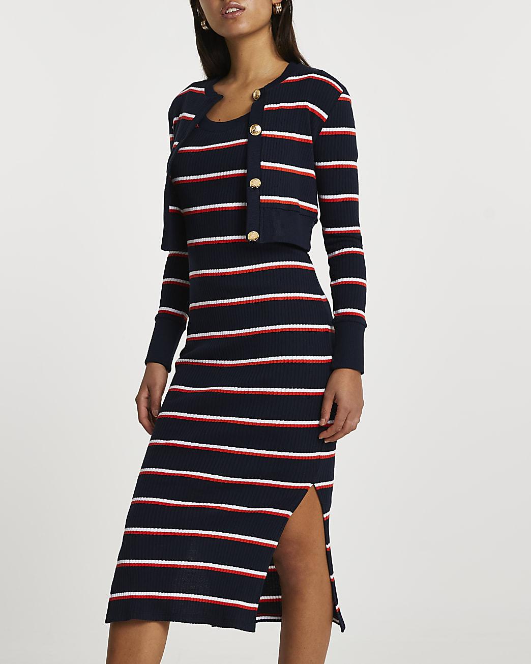 Navy long sleeve stripe midi dress cardi set