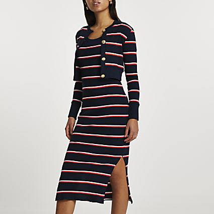 Navy long sleeve stripe midi dress cardi set