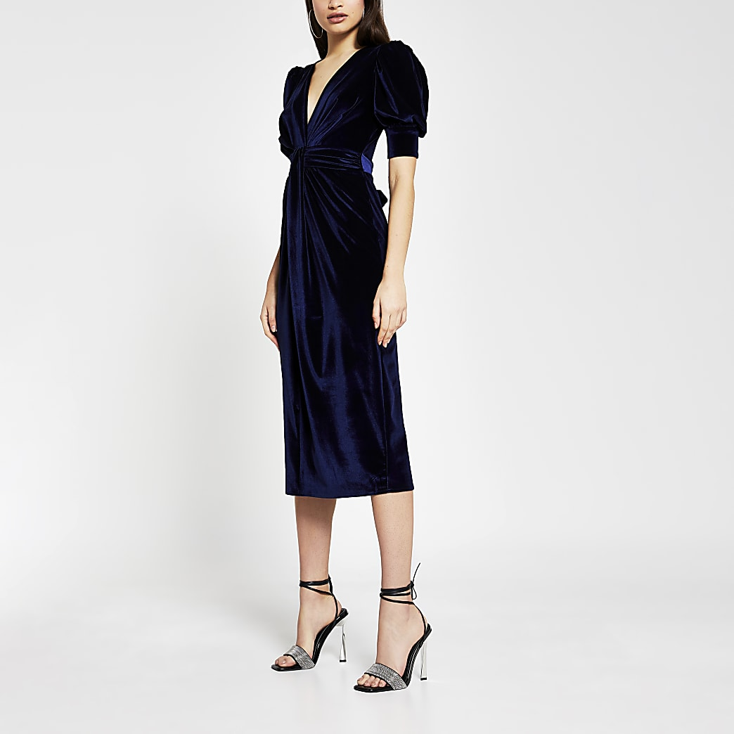 Navy long sleeve velvet midi dress