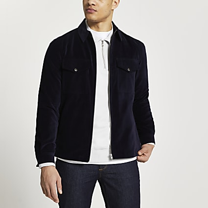 Navy long sleeve zip through shacket
